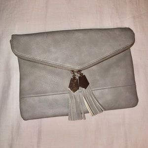 gray envelope clutch/purse/bag